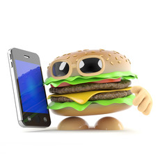 Burger has a smartphone