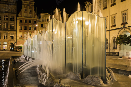 Fountain in the center of the city of Wroclaw