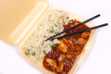 take away chinese sweet and sour chicken with rice