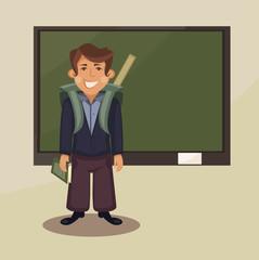 student near blackboard