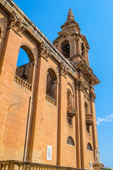Side view of St Publius church in Floriana, Malta