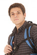 Young college student with backpack gazing off thinking