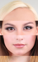 Human female face made of several different people,artistic
