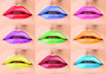 Collage of colorful woman lips