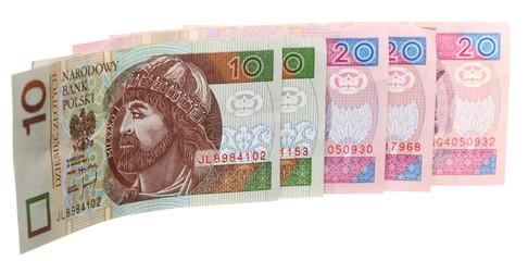 Finance money polish banknote on white