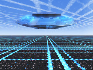A infinite grid horizon with a flying UFO