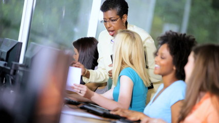 Teenage Multi Ethnic College Students Working Computers