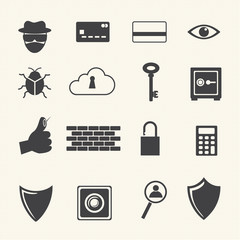 Computer criminal icons set.
