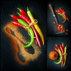 Hot chili pepper on the chalkboard. Collage.