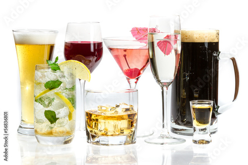 Different kinds of alcohol on a white background