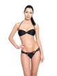 Slim body of young  woman in black bikini