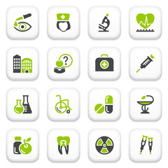 Medicine icons. Green gray series.