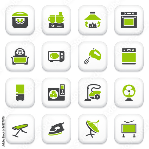 Home appliances icons. Green gray series.