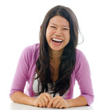 Candid Asian woman laughing