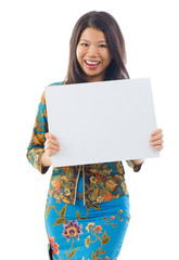 Asian woman holding a white blank card