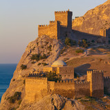 Medieval Genoese fortress on the shore of the Black Sea