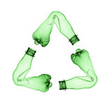 Concept of recycle. Empty used plastic bottle on white
