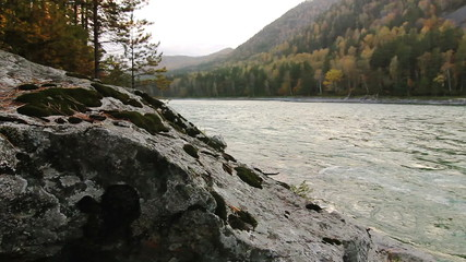 Rocky shore of a mountain river Katun in Altay, Russia