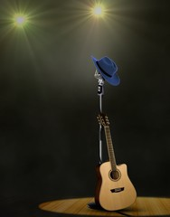 Guitar and Microphone on Stage with Projector Lights