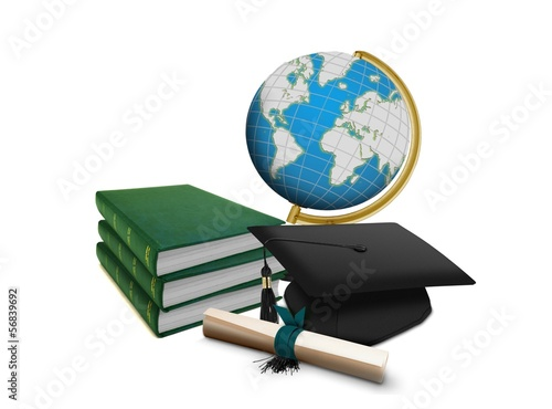 Mortarboard with Scroll and Stack of Books