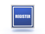 register rectangular button on white background