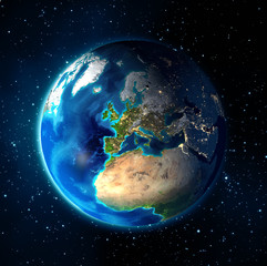 earth in the space - Universe background - Europe