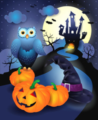 Halloween background in blue