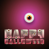 Happy Halloween text with eyeball