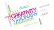 Creativity visionary colorful word tag cloud animation