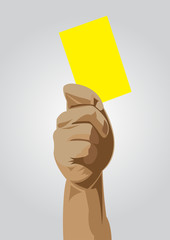 Hand of a judge showing yellow card vector images