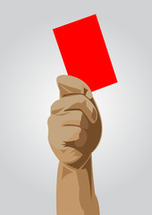 Hand of a judge showing red card vector images