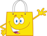 Smiling Yellow Shopping Bag Character Waving For Greeting