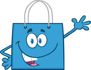 Smiling Blue Shopping Bag Character Waving For Greeting