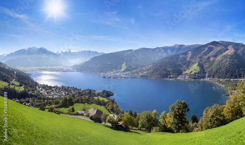 Fototapeta Panorama view over Zell am See, Austria