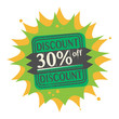 Stamp with the text 30 percent Off, Discount
