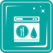 blue icon with shine dishwasher symbol