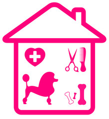 home pet services symbol - poodle, grooming, veterinary and bone
