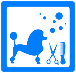 grooming symbol with poodle, scissors, comb and shampoo bubbles