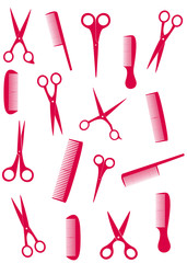background with isolated pink comb and scissors silhouette
