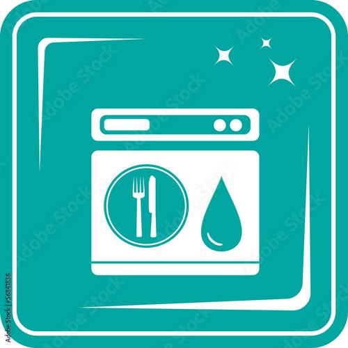 blue icon with shine dishwasher symbol