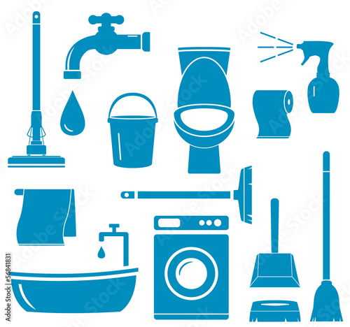 set blue isolated objects for home work cleaning