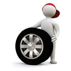 3D Man tyre change