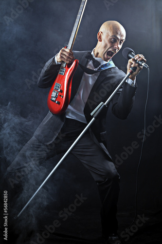 Screaming singer guitarist color image
