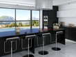 Luxury kitchen interior with floor to ceiling windows