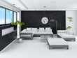Ultramodern loft living room interior with black stone wall