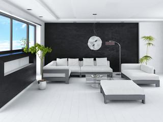 Ultramodern loft living room interior with black stone wall