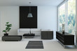 Black and white colored Living Room with floor to ceiling window