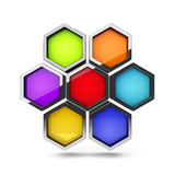 Abstract 3d colorful honeycomb design palette object isolated on