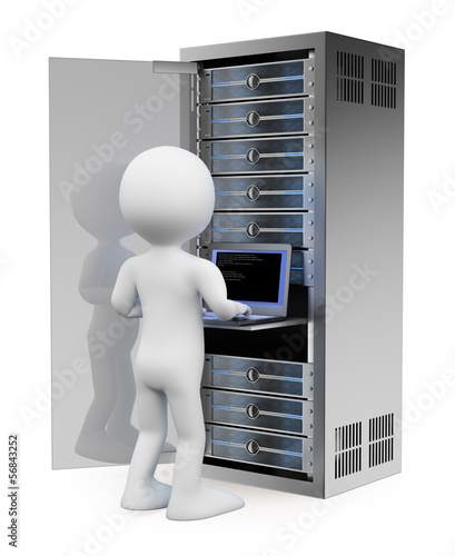 3D white people. Engineer in rack network server room