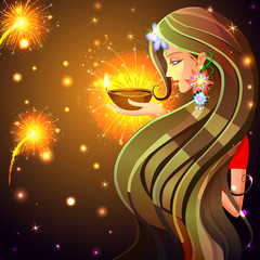 Woman wishing Happy Diwali